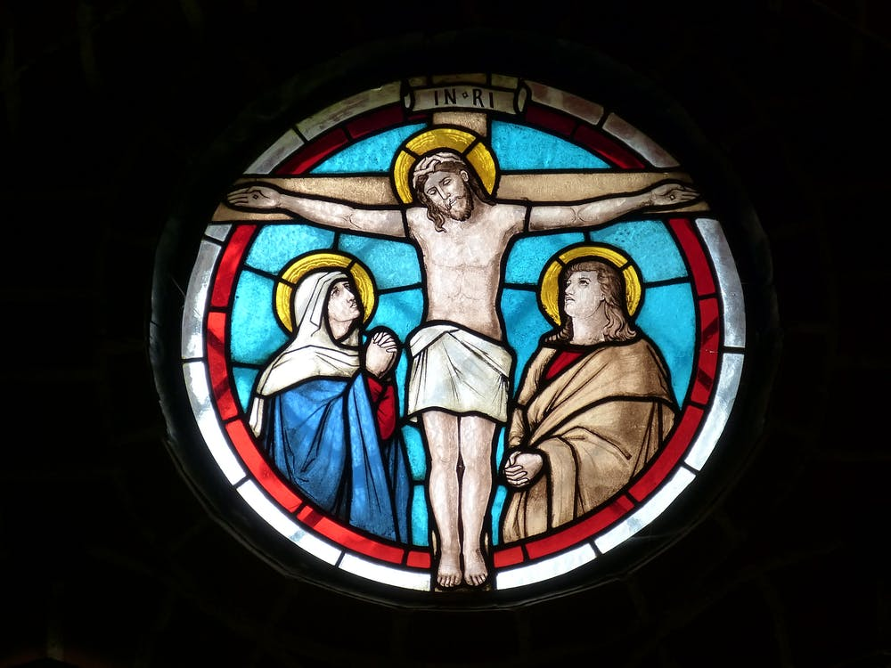 Church Stained Glass Window Jesus on Cross